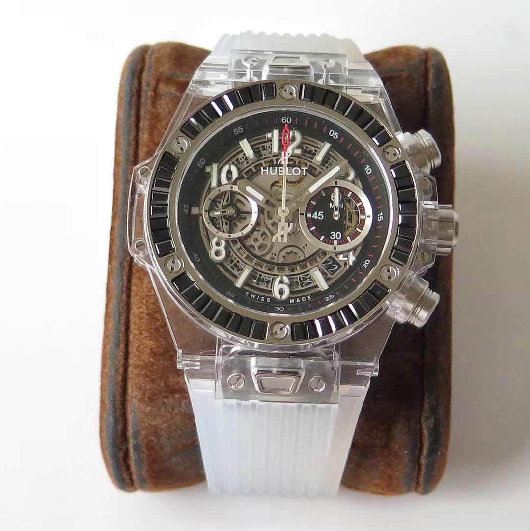 【HB】 宇舶 透明外壳计时腕表 黑色胶带411.JX.4802.RT腕表