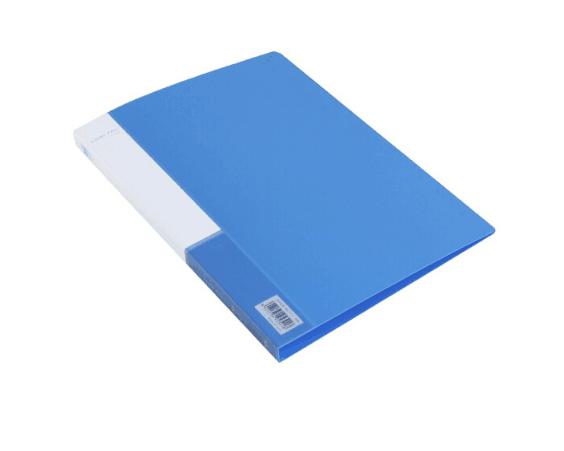 得力(deli) 实用文件夹 A4单强力夹+插袋 蓝色 单只装