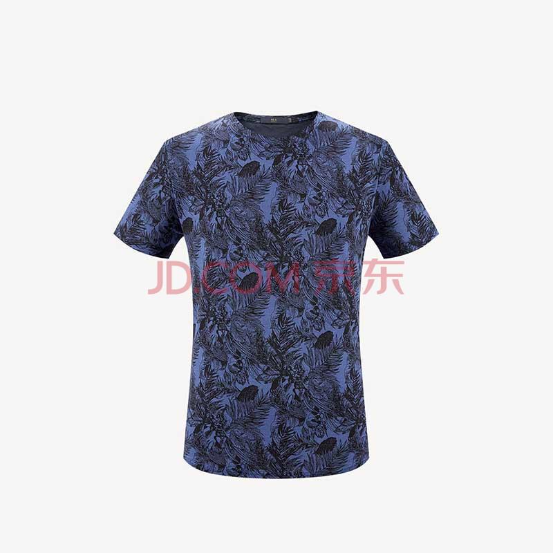 HLA万博手机登录网址是多少之家短袖T恤男植物花卉丝光棉舒适透气HNTCJ2E034A藏青花纹
