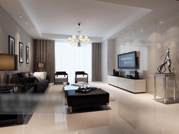 现代简约客厅窗帘效果图